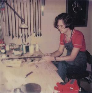 EVS founder Blaise Kielar rehairs a bow in 1978